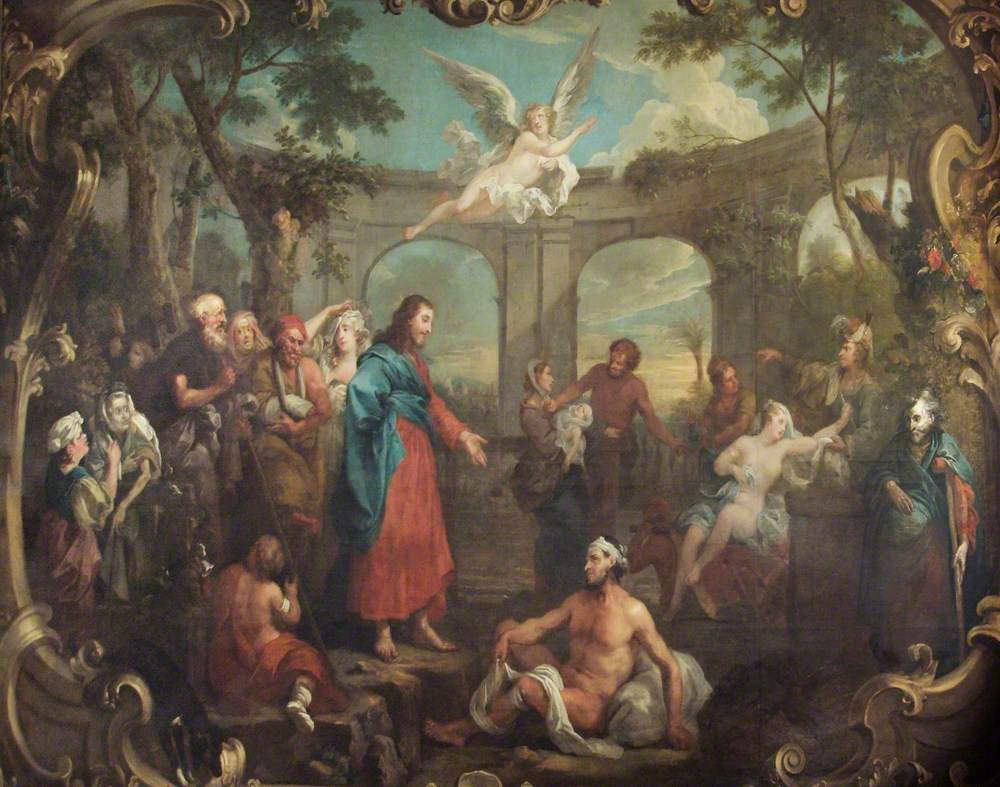 Hogarth, William; Christ at the Pool of Bethesda; St Bartholomew's Hospital Museum and Archive; http://www.artuk.org/artworks/christ-at-the-pool-of-bethesda-50409