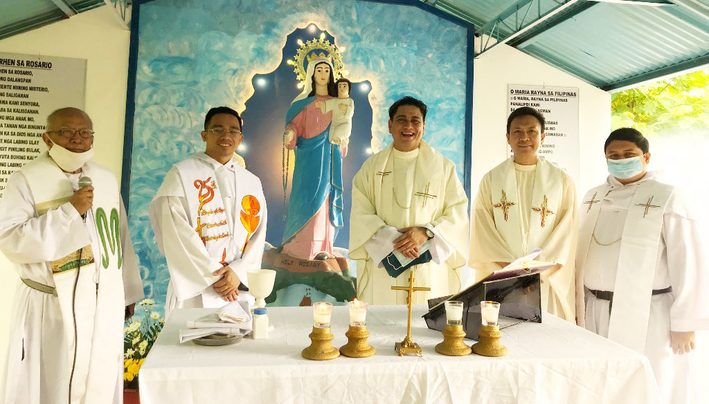 Recoletos de San Carlos. (L to R) Frays Cabarles, Alviola, Ramon,  </br> Alve, and Pahamutang, OAR celebrate the feast of Our Lady of the Holy Rosary </br> at Monteagudo-Recoletos Retreat House, Brgy. Rizal, San Carlos City.